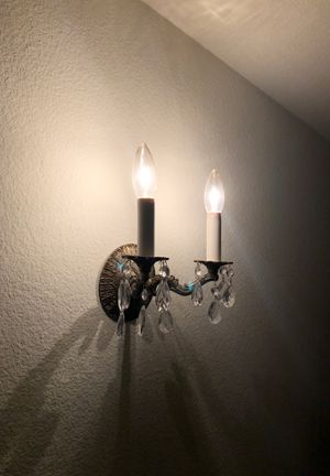 Antique Brass Sconce with Crystals and Candelabra Bulbs for Sale in Sun City, AZ