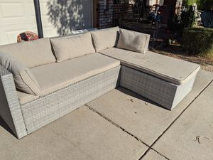 PENDING gray patio furniture chair sectional couch wicker rattan Hampton bay with cushions l shaped for Sale in Phoenix, AZ