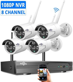 Security Camera System Wireless,HD Video Security System[8CH Expandable System] 4Pcs 1080P 2.0MP IP Security Camera Wireless Indoor/Outdoor IR Bullet for Sale in San Gabriel, CA