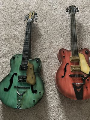Pair of Hand Made Metal Guitar Art Pieces very rare for Sale in Glenview, IL