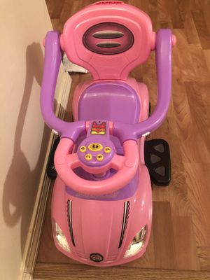 3-in-1 Kids Push and Pedal Toddler Ride On Wagon Play Toy Stroller w/ Sounds, Handle, Horn - Pink for Sale in Medford, MA