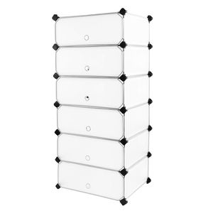 SONGMICS 6 Cubes Interlocking Shoe Rack Closet Wardrobe Standing Storage Organiser Boxes Camping Cabinet Cupboard Shelves 43 x 31 x 105 cm LPC06W for Sale in San Gabriel, CA