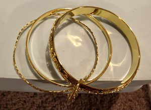 High Fashion Gold 3 Bangle Set w Charm Dangle for Sale in Parkville, MD
