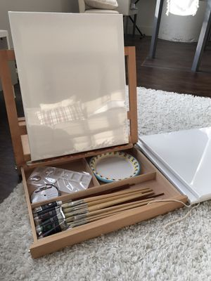 Painting easel with paints/brushes/canvas, mixing tray, apron for Sale in Cleveland, OH