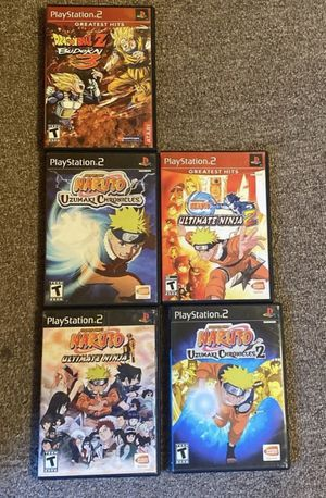 5 ps2 games that includes naruto and one dragon ball game with a bonus Xbox game for Sale in Queens, NY