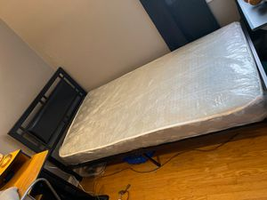 Twin memory foam mattress & black metal frame for Sale in Philadelphia, PA