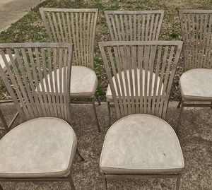 6 vintage Shaver Howard mid- century brushed metal chairs for Sale in Memphis, TN