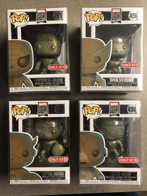 Wolverine Spider-Man Iron Man Captain America Marvel 80 Years Funko Pop Target Exclusives bronze patina finish with protectors for Sale in Addison, TX