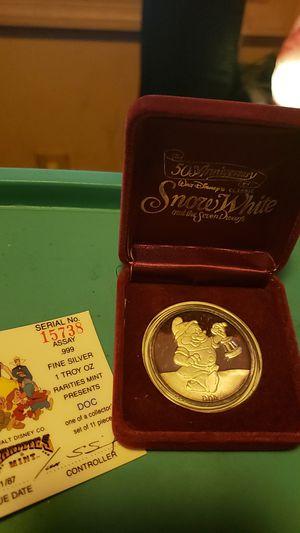 1987 Disneys Snow Whites Dwarf 'DOC', 1oz Silver Round w Box & COA! for Sale in Lewistown, PA