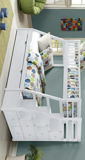 Julian White Twin Over Full Staircase Bunk Bed with Trundle /SAME DAY DELIVERY for Sale in Houston, TX