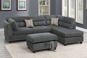CHARCOAL REVERSIBLE CHAISE SECTIONAL SOFA WITH STORAGE OTTOMAN for Sale in Jurupa Valley, CA