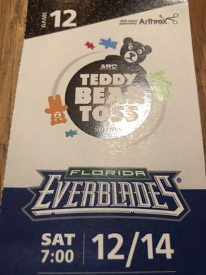 3 everblades tickets. Teddy Bear toss tonight for Sale in Naples, FL