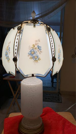 Vintage working like new lamp glass on top glass on the bottom. It's very pretty glass & brass lamp one of aa kind for Sale in Kissimmee, FL