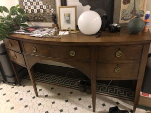 Entryway buffet table wood gold long console media storage side sidetable for Sale in Los Angeles, CA