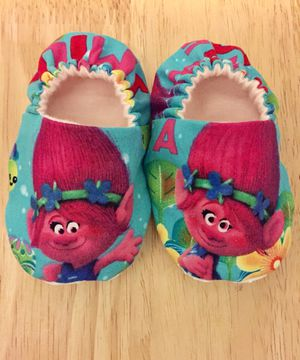 Soft Sole Baby Shoes Made from Trolls Fabric 0-18m for Sale in Hesperia, CA