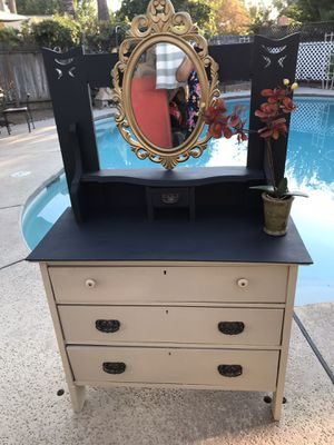 Vintage Vanity/desk/ 3 drawers. Solid wood with mirror decor not included- 36 inches wide; 55 inches tall; 17 inches deep, tiny drawer on top for Sale in Fresno, CA