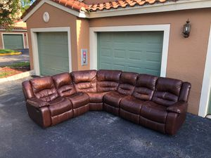 SOFA/COUCH SECTIONAL REAL LEATHER - RECLINING ON 2 SIDES - CHEERS FURNITURE for Sale in Coconut Creek, FL
