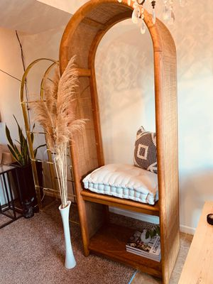 Large rare wicker and wood shelf/bench for Sale in Columbus, OH