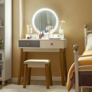Vanity Table Color Lighting Modes Make Up Table & Stool Set for Sale in Los Angeles, CA