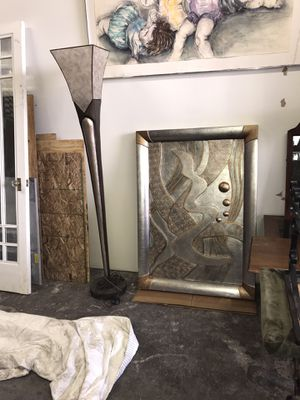 Solid wood Wall Decour and matching lamp for Sale in Cleveland, OH