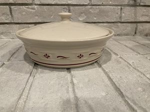 Longaberger Pottery Wove Traditions Red Covered Casserole Dish for Sale in Bedford, TX