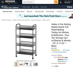 """Halter 4-Tier Rolling Basket Stand, Full Metal Rolling Trolley for Kitchen & Bathroom - Four Tier Storage Cart w/Shelves & Wheels - 33"""" X 17.25"""" – Bl for Sale in Norton, OH"""