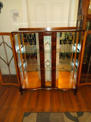 Antique cabinet with glass shelves for Sale in Dallas, TX