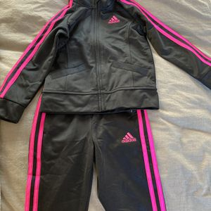 Toddler Adidas Tracksuit - 3T - Black With Pink Stripes for Sale in Rockville, MD