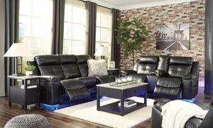 [SPECIAL] Kempten Black LED Rechvglining Living Room Set for Sale in Beltsville, MD