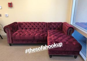 Real Showroom 😁 We Finance - Red Wine Glam Style Button Tufted Couch Sofa Sectional for Sale in Los Angeles, CA