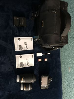 Nikon d3400 DSLR with 2 lenses and misc. for Sale in Ontario, CA
