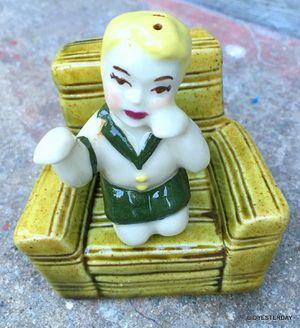 Vintage antique Ceramic arts studio salt and pepper nester snuggler boy on an easy chair for Sale in Saginaw, MI