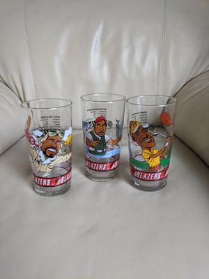 Portland Blazers players collectible tall glasses, set of 3. Dairy Queen collection. for Sale in Vancouver, WA