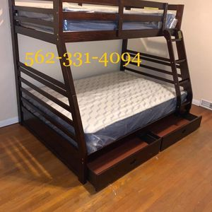🎗 Twin_Full Expresso Bunkbed with Supreme Orthopedic Mattresses Included for Sale in Fresno, CA