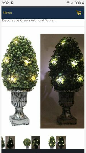 """BRAND NEW 18""""DECORATIVE GREEN ARTIFICAL TOPIARY TREE PLANT IN PLASTIC POT 1O LED LIGHTS FIRM $12 EACH for Sale in Fontana, CA"""