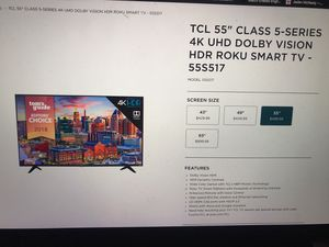 TCL 55' Class 5-series 4K UHD DOLBY VISION HDR ROKU SMART TV for Sale in Corvallis, OR