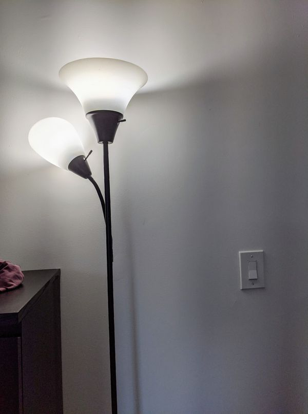 Floor lamp with white bulb