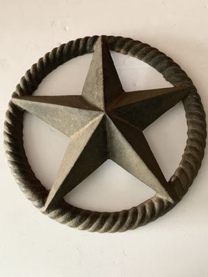 Rustic Texas Star Rope Edge Cast Iron Wall Plaque Western Barn Decor Shed for Sale in San Antonio, TX