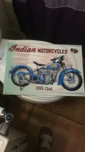 METAL SIGN, INDIAN MOTORCYCLES for Sale in Hesperia, CA