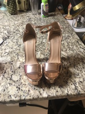 Fashion Nova metallic rose gold peeptoe heels for Sale in Alexandria, VA