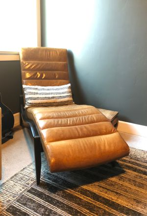 Mid Century Modern Leather Chaise Lounge Chair for Sale in Bend, OR