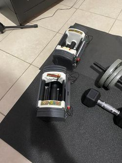 Title: Weights Description: 50lb powerblock 10-50 Curl bar 50lbs 15lb dumbbells Power Push up 400 OBO for Sale in Hollywood,  FL
