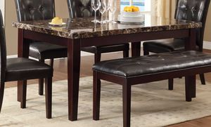 Brown dining table set chairs bench NEW for Sale in Baltimore, MD
