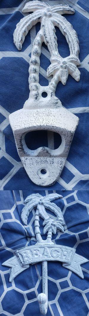 Brand New Set ¤ Cast Iron BEACH PALM TREE WallHooks WallHanger Wall Hook Hanger Bottle Opener BottleOpener for Sale in City of Industry, CA