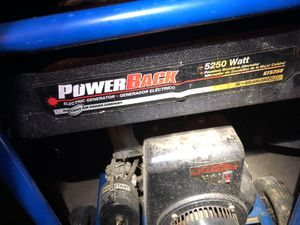 The power back generator works very well he's been serviced to work better ready for you 5250 W 10 hp motor In tiptop shape for Sale in La Vergne, TN