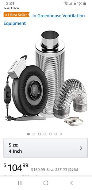 Fan, Carbon Filter and 8 Feet of Ducting Combo for Tent Ventilation for Sale in City of Industry, CA