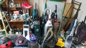 Huge lot assorted vacuums upright canister steam hard carpet cleaner shop vacs kirby dyson hover + for Sale in West Newton, PA