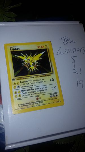 """1st edition Zapdos """"German"""" Base Set Pokemon card for Sale in Canton, IL"""