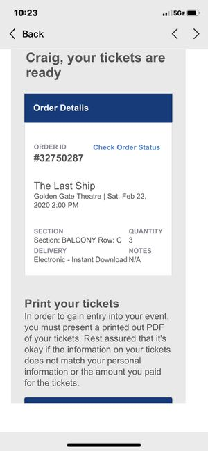 """3 tickets for Sting. """"last battleship"""" At the Golden Gate Theatre. Three tickets over $120 apiece I paid $140 each Balcony seats for Saturday, Februa for Sale in Danville, CA"""