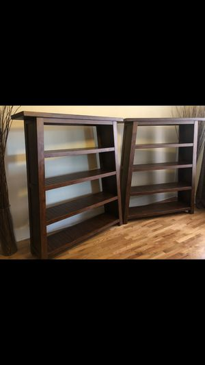 2 Beautiful Solid Dark Wood Bookshelves From World Market for Sale in Tacoma, WA
